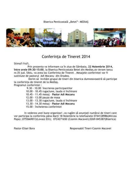 conferinta de tineret betel medias invitatie